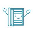 kawaii notebook with bookmark office cartoon vector image vector image
