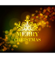 Merry christmas ornament golden vintage bokeh vector image
