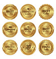 metallic gold seal badges labels vector image