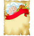 old paper background with chef and food vector image vector image