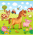 pets graze near the farm vector image
