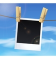 Photoframe on blue sky background white clouds vector image vector image