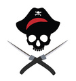 Pirate skull wit crossed daggers vector image vector image