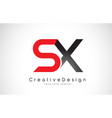 red and black sx s x letter logo design creative vector image