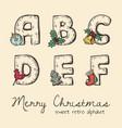retro christmas alphabet vector image