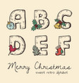 retro christmas alphabet vector image vector image