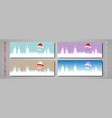 set banner christmas colorful card merry christmas vector image vector image