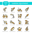 Set line icons of garden equipment vector image