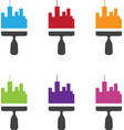 set of city skyline renovation icons with paint vector image