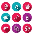 Set of Deafness Icons Ear sound sign vector image vector image