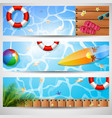 set of three summer beach vector image vector image