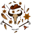 set wild west american indian designed elements vector image