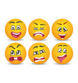 smileys with different face expression stuck vector image vector image