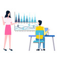 statistics sales business charts man and woman vector image