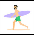 surfer run with surfboard vector image