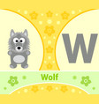 the english alphabet with wolf vector image vector image