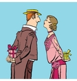 Valentines day a couple man and woman give gifts vector image