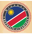 Vintage label cards of Namibia flag vector image vector image
