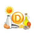 vitamin d sunlight and food sources vector image