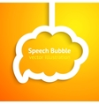 White paper cloud speech bubble on orange vector image vector image