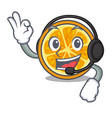 with headphone orange mascot cartoon style vector image