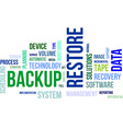 word cloud backup restore vector image vector image