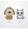 Cartoon cat and dog isolated on white background vector image