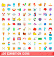 100 exhibition icons set cartoon style vector image vector image