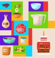 baking cartoon tools round pattern kitchen vector image vector image