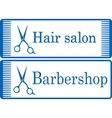 blue barbershop signboard vector image vector image