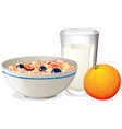 Breakfast with oatmeal and orange vector image vector image