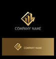 business arrow building gold logo vector image vector image