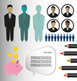 Business infographic with icons persons pencils an vector image vector image
