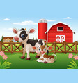 cartoon cow and calf with farm background vector image vector image