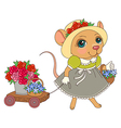 cartoon mouse flowers vector image vector image