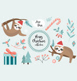 cute sloth merry christmas set collection of vector image vector image