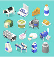 dairy products factory isometric set on blue vector image vector image