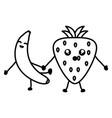 delicious strawberry and banana kawaii characters vector image vector image