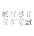 drums icon set outline style vector image vector image