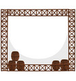 frame design with wooden barrels vector image vector image