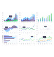 graphs and charts set statistic and data vector image vector image