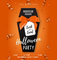 halloween party poster with black coffin vector image vector image