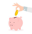 hand putting coin a piggy bank savings concept vector image vector image
