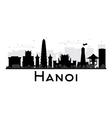 Hanoi City skyline black and white silhouette vector image vector image