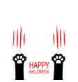 happy halloween black cat scratching paw print vector image vector image