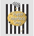 Happy Valentines Day gold and black greeting card vector image