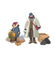 homeless man and woman begging for money on street vector image