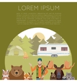 Hunter and animals banner vector image vector image