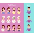 Instructions to wash face of woman and man vector image vector image