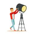 lamp operator controlling lighting equipment vector image vector image